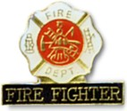 Fire Fighter Shield Lapel Pin