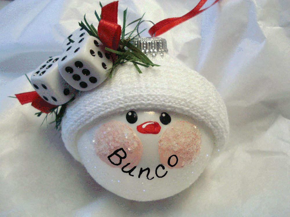 Christmas Bunco Party Ideas Part - 18: Bunco Snowball Christmas Ornament