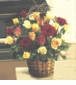 Two Dozen Mixed Roses in basket