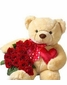 Large Bear  and red rose bouquet