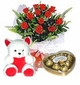 Red Rose with Teddy Bear and Chocolate