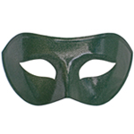 Green Venetian Masquerade Mask with Silver Glitter