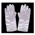 Short White Satin Gloves with Pearls