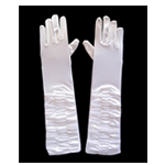 Glamorous White Satin Ruched Gloves
