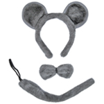 Gray Mouse Ears, Tail, & Bow Tie Costume Set