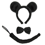 Black Mouse Ears, Tail, & Bow Tie Costume Set