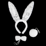 White Plush Sequin Bunny Ears Costume Set