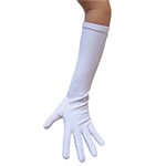 Stretchy White Costume Gloves (Elbow Length)