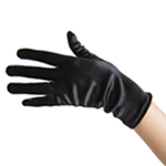 Stretchy Black Satin Gloves (Wrist Length)