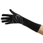 Stretchy Black Satin Gloves (Elbow Length)