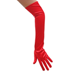 Stretchy Red Satin Gloves (Opera Length)