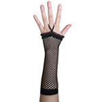 Black Fingerless Fishnet Gloves with Ruffle