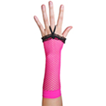 Neon Pink Fingerless Fishnet Gloves with Ruffle