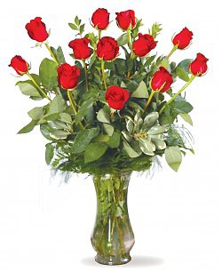 Classic Red Rose Bouquet. Vase Included
