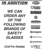 ORDERABLE SAFETY GLASSES BY BRAND