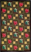 Hand Hooked Rug  - Leaves and Blocks