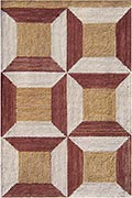 Hand Hooked Rug  - Trapezoid Tiles