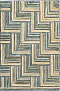 Hand Hooked Rug  - Herring Bone in Blue