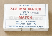 7.62mm .308 Match XM118<br>Lake City 1964 <br>Lot 12020 20rd Box