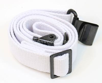 M1 Garand Sling White Cotton Web For Ceremony Drill also fits 1903 M14/M1A AR15 M16 Rifles  <br>Made in the USA