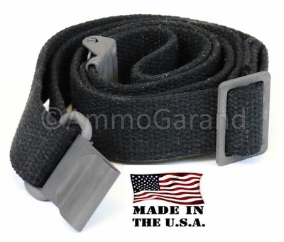 M1 Garand Sling Black Cotton Web also for M14 M1A AR15 M16 Rifles  <br>Made in the USA