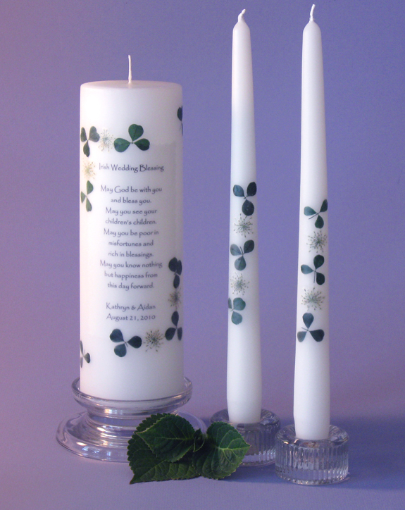 irish wedding blessing unity candle set 2 corner design