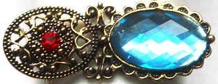 Sky Blue Filigree Brooch