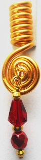 Hair Coil Charm Gold Red