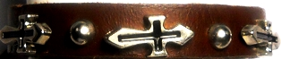 Crosses Leather Loc Band