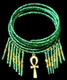 Menyet Bead Collar (Green Iris)