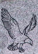 Engraved Eagle in Flight Cemetery Headstone Design 226