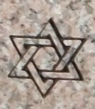 Engraved Star of David Cemetery Headstone Design 685 on G663 Granite