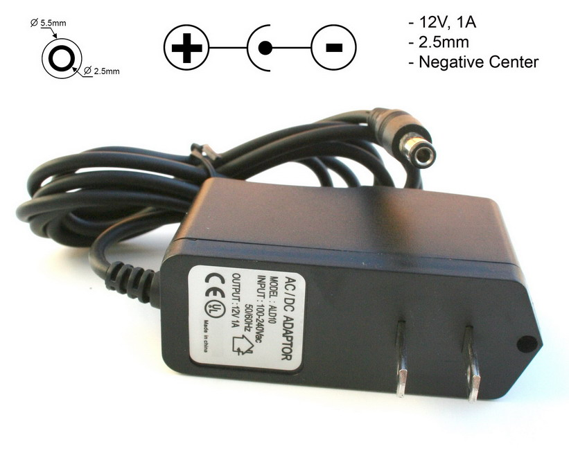 Wall Adapter Switching Power Supply 12VDC, 1A, 2.5mm, Negative Center