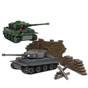 2 Flashing Combat Tanks RC Mini German Tiger I R/C 1:70 Infrared Battle Tank