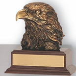 6-1/2 INCH EAGLE HEAD TROPHY, BRASS ELECTROPLATED