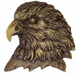 BRASS EAGLE HEAD PLAQUE MOUNT, 4-1/2X4-1/2