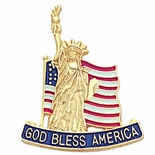GOD BLESS AMERICA & STATUE OF LIBERTY FLAG PIN