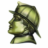 RESIN FIREMAN HEAD ANTIQUE BRASS, 5-1/4