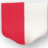 PIN BACK RIBBON, RED AND WHITE