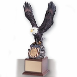 18 INCH EAGLE TROPHY, HAND PAINTED, HOLDS 2 INCH INSERT