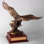 15 INCH EAGLE TROPHY, BRASS ELECTROPLATED
