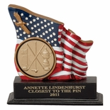 5-1/2 INCH FLAG/EAGLE TROPHY, HOLDS 2 INCH INSERT