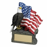 7-1/2 INCH EAGLE/FLAG TROPHY, HAND PAINTED
