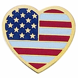 AMERICAN FLAG HEART SHAPED PIN