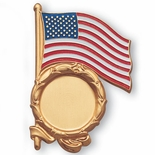 U.S. FLAG PLAQUE MOUNT GOLD  HOLDS 2 INCH INSERT