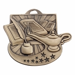 2 INCH LAMP OF LEARNING MEDAL - MULTIPLE COLORS