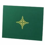 9-1/4 X 11-1/2 LINEN FOLDER WITH DESIGN, GREEN