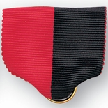 PIN BACK RIBBON, RED AND BLACK