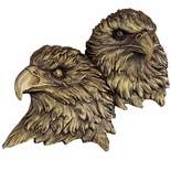 ANTIQUE BRASS DOUBLE EAGLE HEAD MOUNT, 5X4