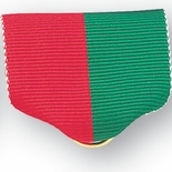 PIN BACK RIBBON, RED AND GREEN